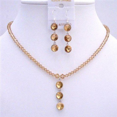 NSC610Colorado Swarovski Crystals Bridal Jewelry Set Drop Downw/Round Crystals Bead Jewelry Set