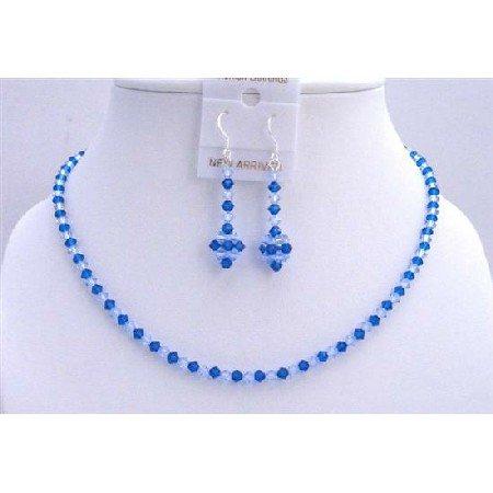 NSC591Capri Color Swarovski Crystals w/ Sapphire Necklace Set Genuine Jewelry Set