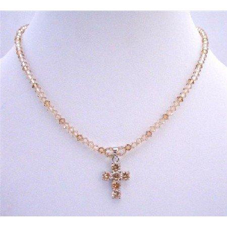 NSC580 Lite Smoked Topaz Crystals&Golden Shadow Crystals Necklace w/Crystals Cross Pendant Necklace