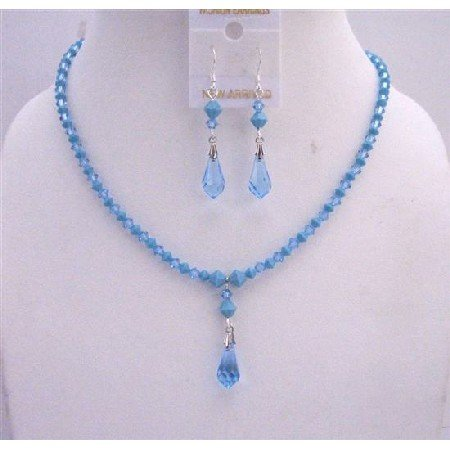 NSC536  Blue Turquoise Aquamarine Swarovski Crystals w/ Teardrop Necklace Set