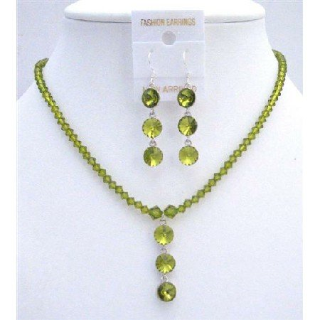 NSC611 Genuine Swarovski Olive Green Crystals Sterling Silver Earrings Necklace Set