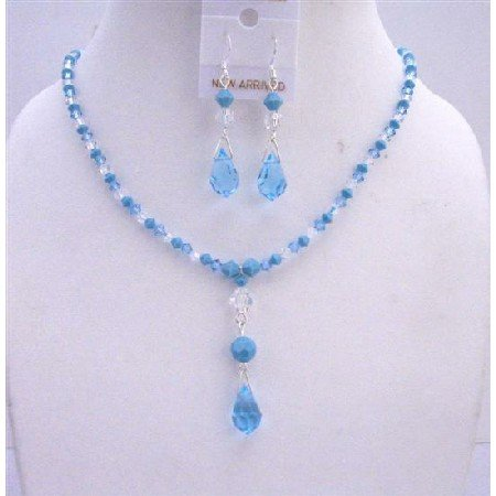 NSC658  Swarovski Aquamarine Turquoise Clear Crystals Jewelry Set TriColor Crystals Necklace Set