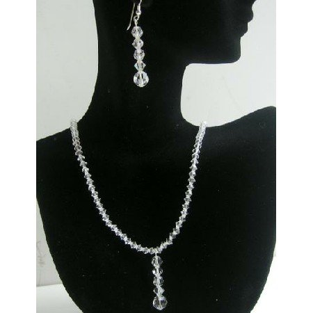 NSC382  Clear Crystals Necklace & Earrings Swarovski Clear Crystals Sterling Silver Jewelry