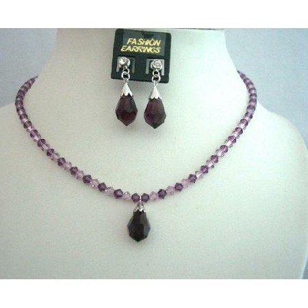 NSC341  Swarovski Amethyst Crsytal Jewelry Handcrafted Custom Crystals Jewelry
