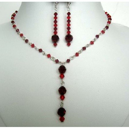 NSC242  Crystals Jewelry Red Necklace Set Y Handcrafted Swarovski Crystals