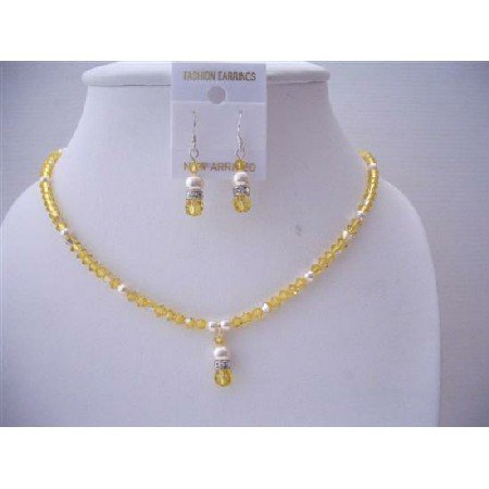 NSC545  Swarovski Lite Topaz Crystals And Ivory Pearls Jewelry Set