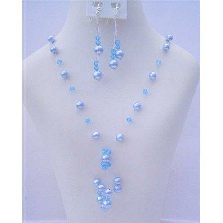 NSC484  Aquamarine Crystals and Pearls Genuine Swarovski Crystals & Pearls Tassel Drop Necklace Set