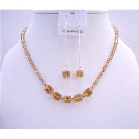 NSC585  AB Golden Shadow Crystals Light & Dark Cube Crystals Jewelry Set Handmade Jewelry