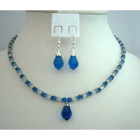 NSC349  Handcrafted Custom Jewelry Genuine Swarovski Capri Blue Crystals Necklace Set