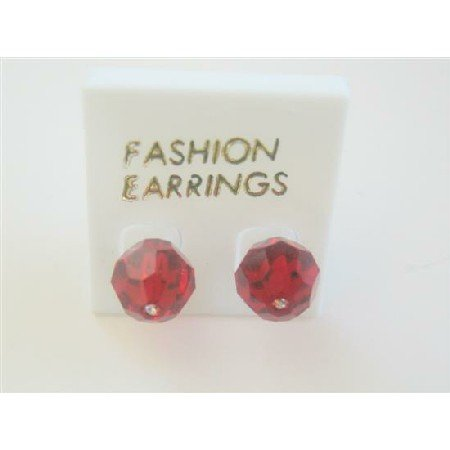 ERC391  Crystals Stud Earring Siam Red Swarovski Crystals Stud Earrings