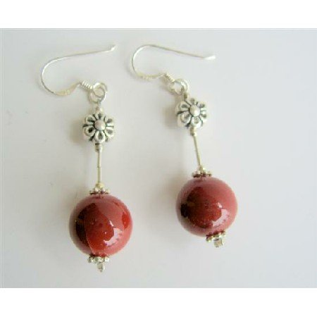 ERC328  Sterling Silver 925 Tube Coral 10mm Round Bead w/ Daisy Spacer Earrings