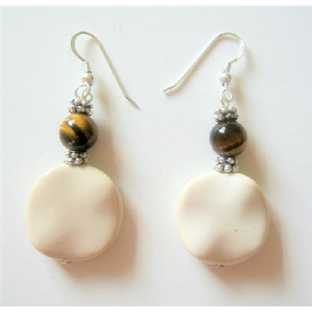 ERC334  Sterling Silver White Flat Jasper Earrings w/ Tiger Bead And Daisy Spacer Earrings