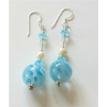 ERC340  Freshwater Pearls Venetian Glass Bead Earrings w/ Spacer Sterling Earrings