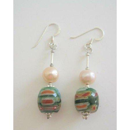 ERC225  Venetian Glass Bead Earrings w/ Mother Pearls 8mm Sterling Silver Earrings