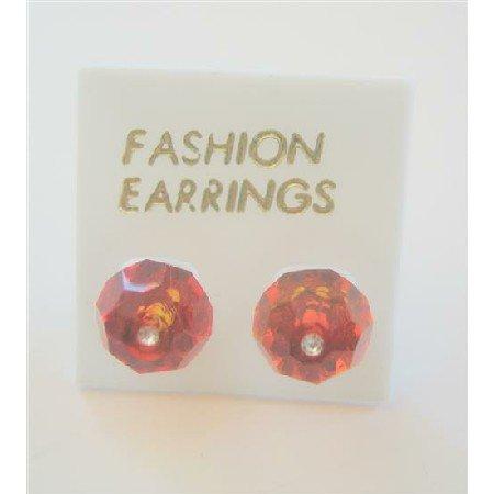 ERC392  Genuine Swarovski Indian Red(Burnt Orange) Crystals Stud Earring