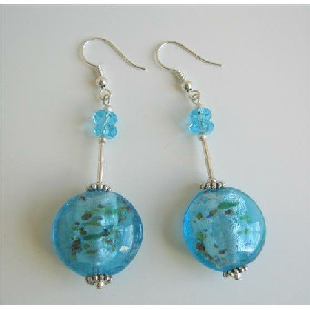 ERC412  Ethnic Blue Self Designed Millefiori Bead Sterling Silver Earrings
