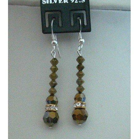 ERC130  Genuine New Swarovski AB Dorado Crystals Earrings Sterling Silver French Wire Earrings