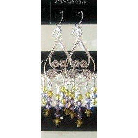ERC060_2  Genuine Swarovski Lime & Purpl Crystals w/ Sterling 92.5 100% Silver Chandelier Earrings