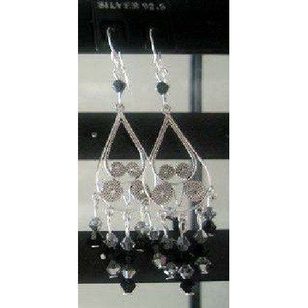 ERC063_3 Genuine Jet&Black Diamond Swarovski TCrystals & Sterling Silver Chanderlier Earrings
