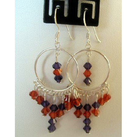 ERC093 Handcrafted Earrings Genuine Indan Red & Voilet Crystals w/Sterling Silver 92.5 Chandelier