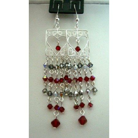 ERC103  Sterling Silver Dangling w/ Genuine Siam Red Crystals Bicone 4mm