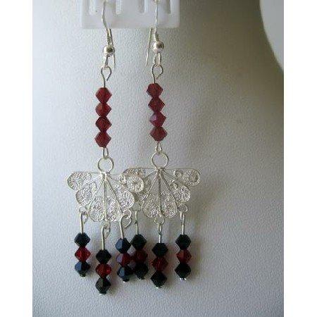 ERC140  Dark Siam Red Crystals & Jet Genuine Crystals Butterfly Chandelier Earrings