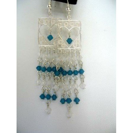 ERC119 Real Sterling Silver Heart Shaped Frame Chandelier Carribean Blue&Opal White Crystals
