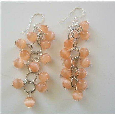 ERC362  Peach Bunches Beads Cat Eye Sterling Silver Earrings Handmade Earrings