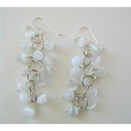 ERC364  Soothing White Cat Eye Dangling Earrings Sterling Silver Handmade Earrings