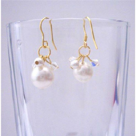 ERC356  AB Swarovski Crystals & White Pearls Earrings Classy 22k Gold Plated Earrings
