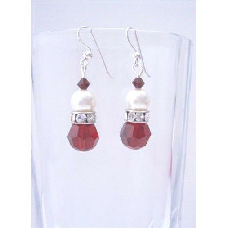 ERC359  Siam Red Swarovski Crystals w/ Simulated Diamond And White Pearls Earrings