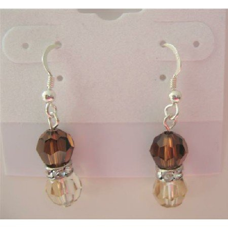 ERC283 Golden Shadow Swarovski Round Crystals w/Smoked Topaz Crystals & Silver Rondells Earrings