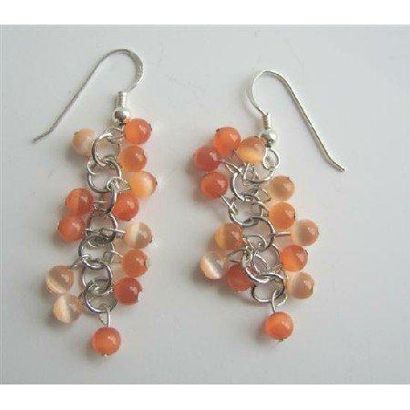ERC324Citrine Cat Eye Sterling Silver Earrings Citrine&Lite Orange Cat Eye Beadspacer Earrings