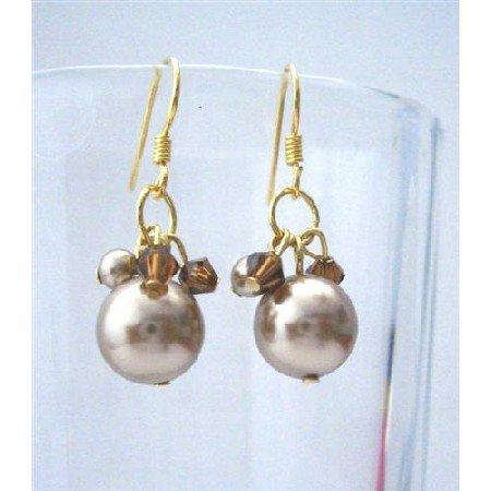 ERC357  Bronze Pearls Swarovski Smoked Topaz Crystals Elegant Earrings 22k Gold Plated Earrings