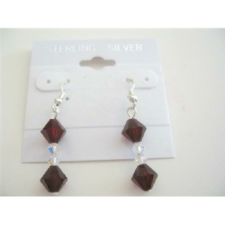 ERC366  Swarovski Garnet Crystals And Clear Crystals Handcrafted Sterling Silver Earrings