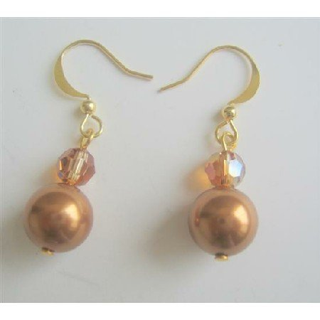 ERC368  Copper Pearls & Swarovski Copper Crystals 22k Gold Plated Earrings