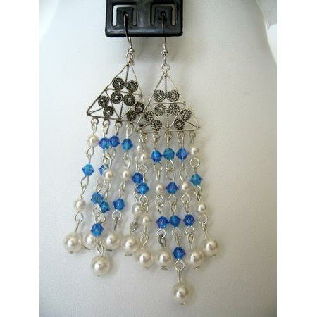ERC118Genuine White Pearls w/Genuine Swarovski Sapphire Crystals w/Sterling Silver Earrings