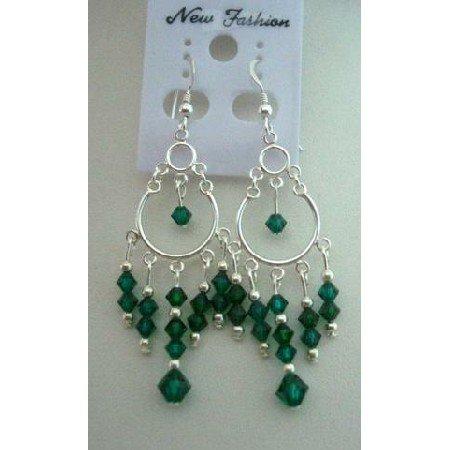 ERC042  Cascade Drop Genuine Crystals Chandelier Earrings w/ Emerald Crystals