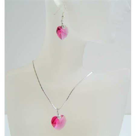 NSC523  Cool Rose Pink Swarovski Crystals Heart Pendant & Earrings Necklace Set