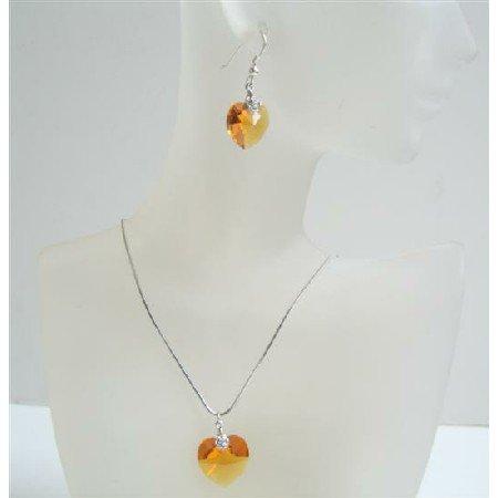 NSC521  Dark Golden Shadow Heart Pendant Swarovski Crystals Heart Jewelry Set