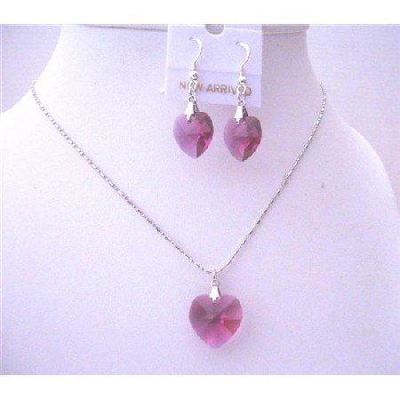 NSC511  Fuchia AB Crystals Heart Pendant 18mm w/ 14mm Earrings Sterling Silver Earrings