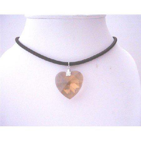 NSC496  Smoked Topaz Swarovski Crystal Heart Pendant 28mm Black Chord Necklace 28mm Pendant