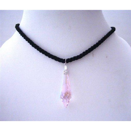 NSC491  Rose Pink Crystals Cylindrical Pendant In Black Chord Neckalce
