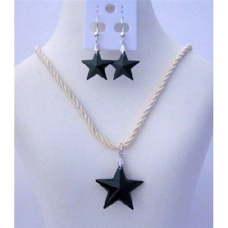 NSC462  Jet Crystals Star Pendant Necklace Set of Swarovski Jet Star 24mm Crystals