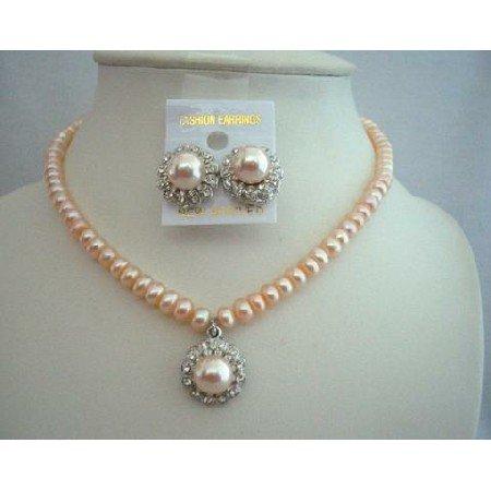 NSC339 Freshwater Pearls Peach Necklace Set w/ Stud Pearls Pendant & Earrings