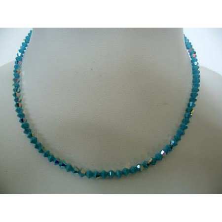 NSC289  Blue Lagoon Genuine Swarovski AB Turquoise Round Neck Necklace String w/ AB Coated