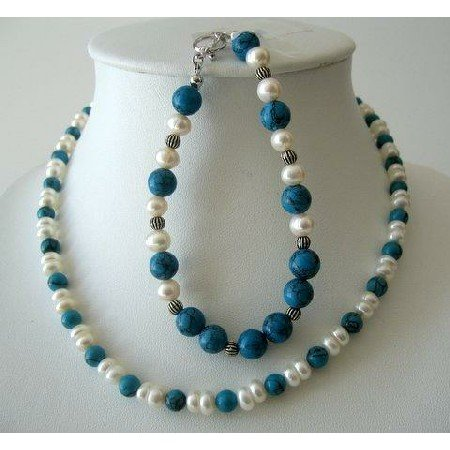NSC226  Handcrafted Necklace & Bracelet Turquoise Bead w/ Potato Shaped Freshwater Pearls