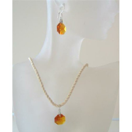 NSC479  Octagon Topaz Crystals Swarovski Crystals Pendant & Earrings Beaded Chord Necklace Set