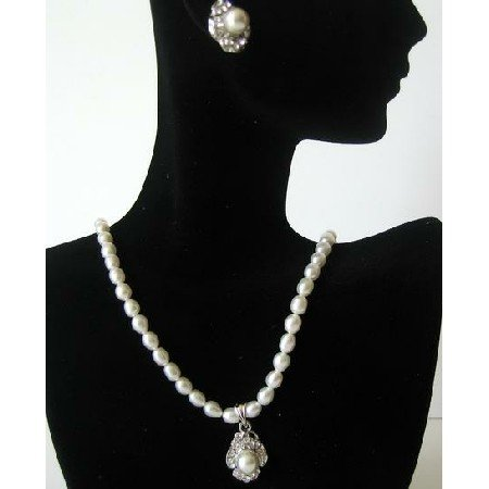 NSC367  Handmade White Freshwater Pearls w/ Pendant Necklace & Matching Earrings