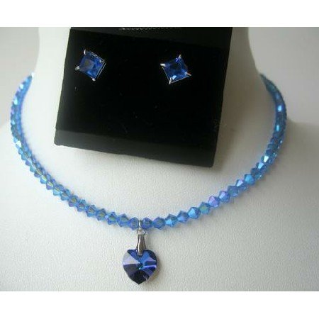 NSC315 COLOR Sapphire BICONE Swarovski Crystals w/Heart Cute Pendants Necklace